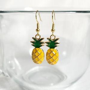 Pineapple Earrings Yellow Green Gold